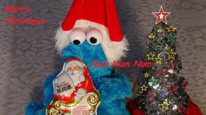 cookie monster santa